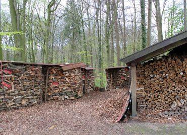 Holzkörbe und Holzstall